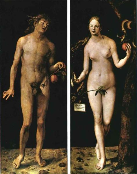 Adam and Eve showing their nipples